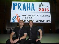 S kolegou technikem na Mistrovství Evropy v atletice (2015).